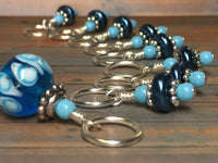 Glass Bead & Pearl Stitch Marker Set- Dark Blue , Stitch Markers - Jill's Beaded Knit Bits, Jill's Beaded Knit Bits  - 6