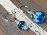 Glass Bead & Pearl Stitch Marker Set- Dark Blue , Stitch Markers - Jill's Beaded Knit Bits, Jill's Beaded Knit Bits  - 7