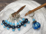 Glass Bead & Pearl Stitch Marker Set- Dark Blue , Stitch Markers - Jill's Beaded Knit Bits, Jill's Beaded Knit Bits  - 2