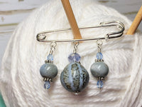 Frost Blue Glazed Ceramic Kilt Pin/ Shawl Pin , jewelry - Jill's Beaded Knit Bits, Jill's Beaded Knit Bits  - 4