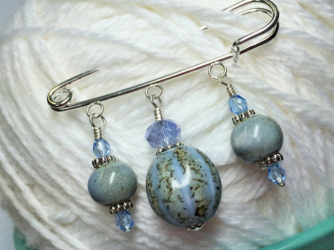 Frost Blue Glazed Ceramic Kilt Pin/ Shawl Pin , jewelry - Jill's Beaded Knit Bits, Jill's Beaded Knit Bits  - 3