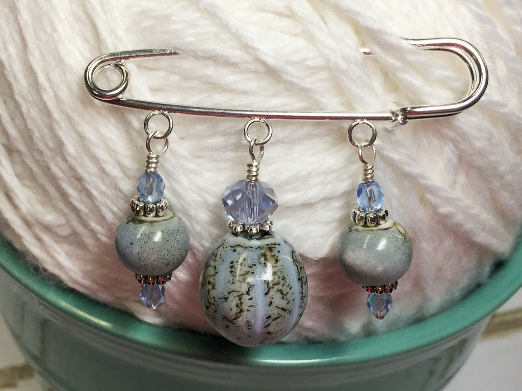 Frost Blue Glazed Ceramic Kilt Pin/ Shawl Pin , jewelry - Jill's Beaded Knit Bits, Jill's Beaded Knit Bits  - 1