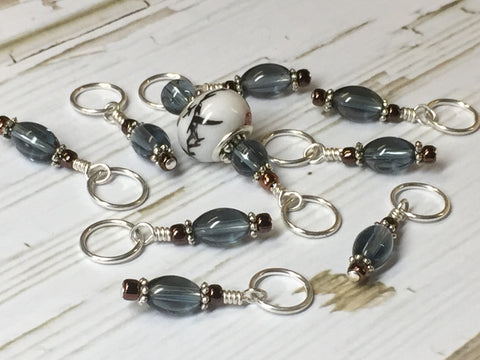 Glass Dione Bead Stitch Marker Set- Blue/Gray , Stitch Markers - Jill's Beaded Knit Bits, Jill's Beaded Knit Bits  - 12