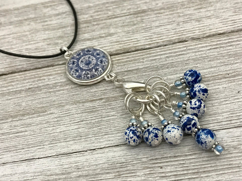 Blue Speckle Stitch Marker Necklace | Adjustable Leather Cord | Snag Free