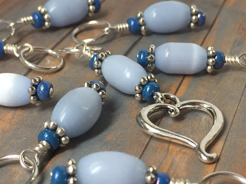 Sky Blue Open Heart Stitch Marker Set , Stitch Markers - Jill's Beaded Knit Bits, Jill's Beaded Knit Bits  - 3