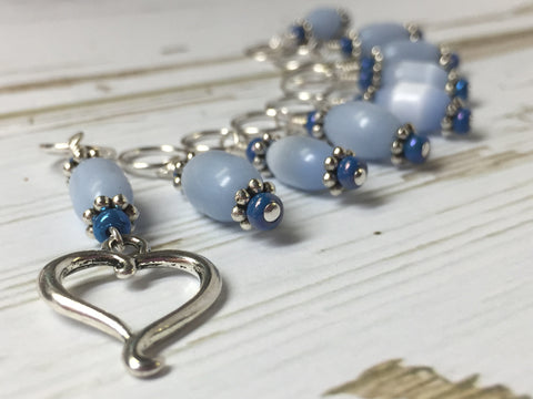 Sky Blue Open Heart Stitch Marker Set , Stitch Markers - Jill's Beaded Knit Bits, Jill's Beaded Knit Bits  - 4