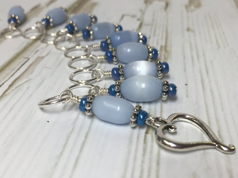 Sky Blue Open Heart Stitch Marker Set , Stitch Markers - Jill's Beaded Knit Bits, Jill's Beaded Knit Bits  - 6