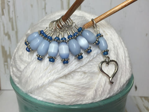 Sky Blue Open Heart Stitch Marker Set , Stitch Markers - Jill's Beaded Knit Bits, Jill's Beaded Knit Bits  - 7