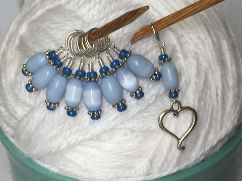 Sky Blue Open Heart Stitch Marker Set , Stitch Markers - Jill's Beaded Knit Bits, Jill's Beaded Knit Bits  - 8