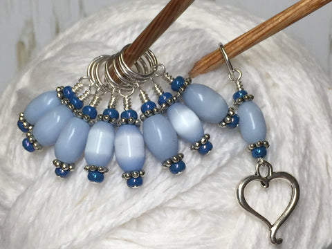 Sky Blue Open Heart Stitch Marker Set , Stitch Markers - Jill's Beaded Knit Bits, Jill's Beaded Knit Bits  - 2