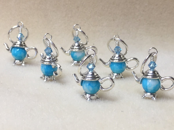 6 Snag Free Little Blue Teapot Stitch Markers- Gift for Knitters , Stitch Markers - Jill's Beaded Knit Bits, Jill's Beaded Knit Bits  - 1