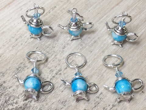 6 Snag Free Little Blue Teapot Stitch Markers- Gift for Knitters , Stitch Markers - Jill's Beaded Knit Bits, Jill's Beaded Knit Bits  - 6