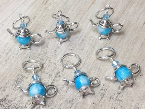 6 Snag Free Little Blue Teapot Stitch Markers- Gift for Knitters , Stitch Markers - Jill's Beaded Knit Bits, Jill's Beaded Knit Bits  - 7