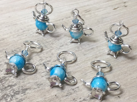 6 Snag Free Little Blue Teapot Stitch Markers- Gift for Knitters , Stitch Markers - Jill's Beaded Knit Bits, Jill's Beaded Knit Bits  - 8