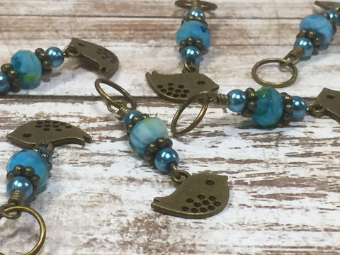 Bluebird Stitch Markers- Snag Free 6 Piece Knitting Set- Optional Holder , stitch markers - Jill's Beaded Knit Bits, Jill's Beaded Knit Bits  - 1