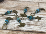 Bluebird Stitch Markers- Snag Free 6 Piece Knitting Set- Optional Holder , stitch markers - Jill's Beaded Knit Bits, Jill's Beaded Knit Bits  - 2