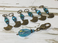 Bluebird Stitch Markers- Snag Free 6 Piece Knitting Set- Optional Holder , stitch markers - Jill's Beaded Knit Bits, Jill's Beaded Knit Bits  - 3