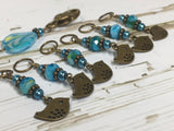 Bluebird Stitch Markers- Snag Free 6 Piece Knitting Set- Optional Holder , stitch markers - Jill's Beaded Knit Bits, Jill's Beaded Knit Bits  - 5