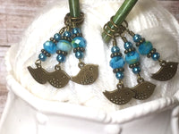Bluebird Stitch Markers- Snag Free 6 Piece Knitting Set- Optional Holder , stitch markers - Jill's Beaded Knit Bits, Jill's Beaded Knit Bits  - 7