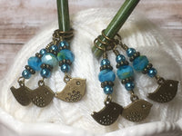 Bluebird Stitch Markers- Snag Free 6 Piece Knitting Set- Optional Holder , stitch markers - Jill's Beaded Knit Bits, Jill's Beaded Knit Bits  - 8