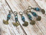 Bluebird Stitch Markers- Snag Free 6 Piece Knitting Set- Optional Holder , stitch markers - Jill's Beaded Knit Bits, Jill's Beaded Knit Bits  - 10