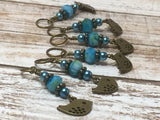 Bluebird Stitch Markers- Snag Free 6 Piece Knitting Set- Optional Holder , stitch markers - Jill's Beaded Knit Bits, Jill's Beaded Knit Bits  - 11