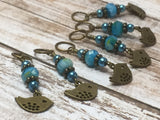 Bluebird Stitch Markers- Snag Free 6 Piece Knitting Set- Optional Holder , stitch markers - Jill's Beaded Knit Bits, Jill's Beaded Knit Bits  - 12