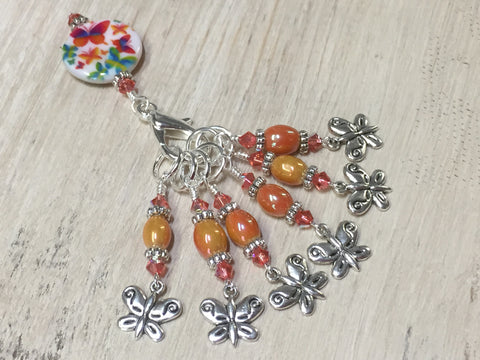 Orange Butterfly Stitch Marker Holder and Matching Butterfly Stitch Markers , Stitch Markers - Jill's Beaded Knit Bits, Jill's Beaded Knit Bits  - 2
