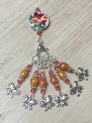 Orange Butterfly Stitch Marker Holder and Matching Butterfly Stitch Markers , Stitch Markers - Jill's Beaded Knit Bits, Jill's Beaded Knit Bits  - 3