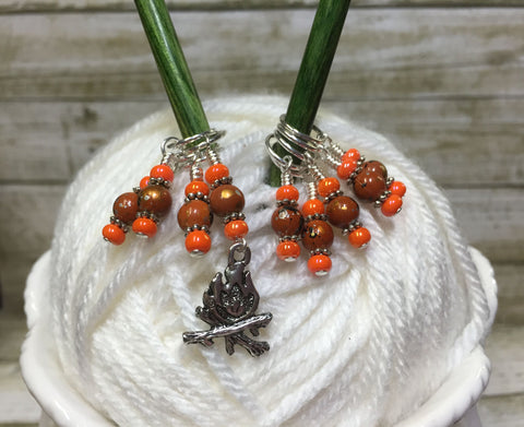 Camp Fire Stitch Marker Set- Orange , Stitch Markers - Jill's Beaded Knit Bits, Jill's Beaded Knit Bits  - 2