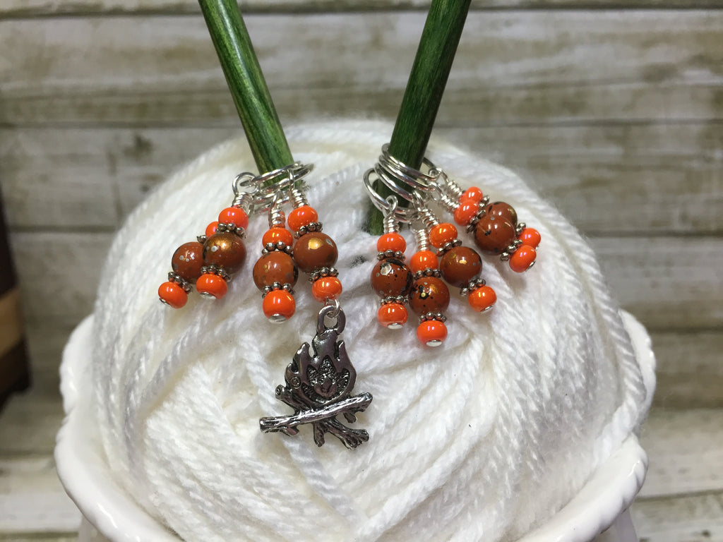 Camp Fire Stitch Marker Set- Orange , Stitch Markers - Jill's Beaded Knit Bits, Jill's Beaded Knit Bits  - 1