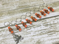 Camp Fire Stitch Marker Set- Orange , Stitch Markers - Jill's Beaded Knit Bits, Jill's Beaded Knit Bits  - 3