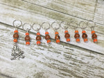 Camp Fire Stitch Marker Set- Orange , Stitch Markers - Jill's Beaded Knit Bits, Jill's Beaded Knit Bits  - 4