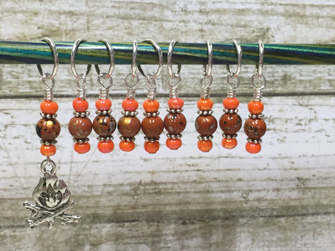 Camp Fire Stitch Marker Set- Orange , Stitch Markers - Jill's Beaded Knit Bits, Jill's Beaded Knit Bits  - 5