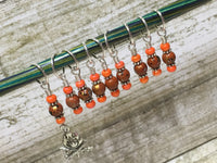 Camp Fire Stitch Marker Set- Orange , Stitch Markers - Jill's Beaded Knit Bits, Jill's Beaded Knit Bits  - 6