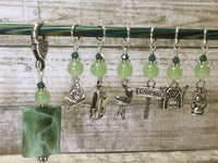 Camping Stitch Marker Set With Green Beaded Clip Holder , Stitch Markers - Jill's Beaded Knit Bits, Jill's Beaded Knit Bits  - 1