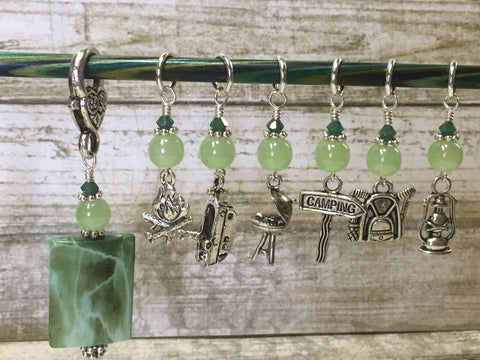 Camping Stitch Marker Set With Green Beaded Clip Holder