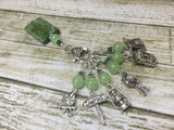 Camping Stitch Marker Set With Green Beaded Clip Holder , Stitch Markers - Jill's Beaded Knit Bits, Jill's Beaded Knit Bits  - 2