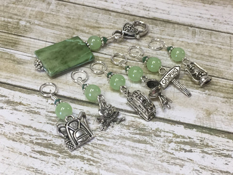 Camping Stitch Marker Set With Green Beaded Clip Holder , Stitch Markers - Jill's Beaded Knit Bits, Jill's Beaded Knit Bits  - 4