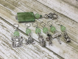 Camping Stitch Marker Set With Green Beaded Clip Holder , Stitch Markers - Jill's Beaded Knit Bits, Jill's Beaded Knit Bits  - 5