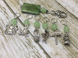 Camping Stitch Marker Set With Green Beaded Clip Holder , Stitch Markers - Jill's Beaded Knit Bits, Jill's Beaded Knit Bits  - 6