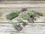Camping Stitch Marker Set With Green Beaded Clip Holder , Stitch Markers - Jill's Beaded Knit Bits, Jill's Beaded Knit Bits  - 7