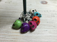 Colorful Skull Stitch Markers , Stitch Markers - Jill's Beaded Knit Bits, Jill's Beaded Knit Bits  - 4