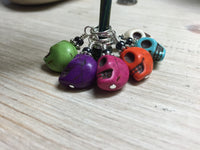 Colorful Skull Stitch Markers , Stitch Markers - Jill's Beaded Knit Bits, Jill's Beaded Knit Bits  - 3