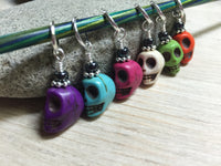 Colorful Skull Stitch Markers , Stitch Markers - Jill's Beaded Knit Bits, Jill's Beaded Knit Bits  - 5