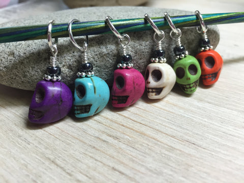 Colorful Skull Stitch Markers , Stitch Markers - Jill's Beaded Knit Bits, Jill's Beaded Knit Bits  - 2