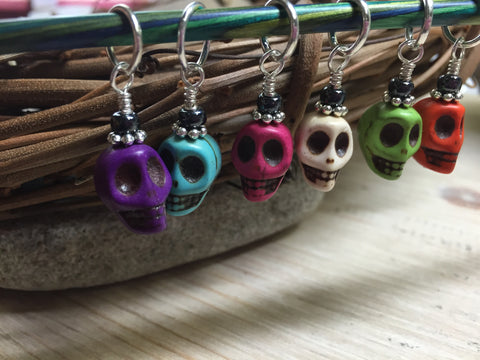 Colorful Skull Stitch Markers , Stitch Markers - Jill's Beaded Knit Bits, Jill's Beaded Knit Bits  - 6