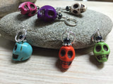 Colorful Skull Stitch Markers , Stitch Markers - Jill's Beaded Knit Bits, Jill's Beaded Knit Bits  - 1