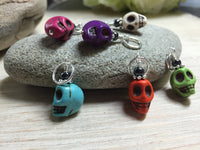 Colorful Skull Stitch Markers , Stitch Markers - Jill's Beaded Knit Bits, Jill's Beaded Knit Bits  - 7