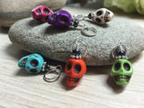 Colorful Skull Stitch Markers , Stitch Markers - Jill's Beaded Knit Bits, Jill's Beaded Knit Bits  - 8